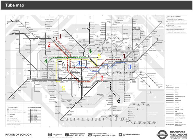 6 trajets sur le plan du Metro de Londre (Guillaume Dussably)